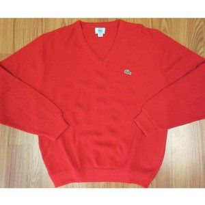 VTG LACOSTE Mens ACRYLIC SWEATER RED Sz LARGE, L